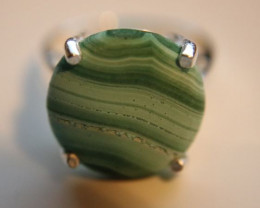 Malachite 6.90ct Platinum Finish Solid 925 Sterling Silver Solitaire Ring