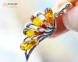 3Cts Baltic Amber Sale, Silver Pendant - AM 2019
