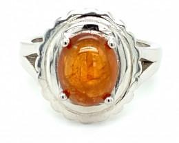 Spessartine Garnet 3.80ct Platinum Finish Solid 925 Sterling Silver Ring