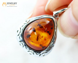 3Cts Baltic Amber Sale, Silver Pendant - AM 2021