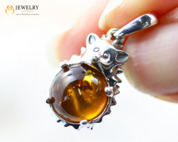 1.2Cts Baltic Amber Sale, Silver Pendant - AM 2022