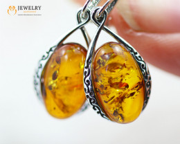 3Cts Baltic Amber Sale, Silver Earrings- AM 2030