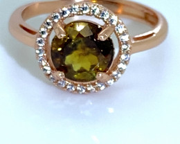 Sphene 1.65ct Rose Gold Finish Solid 925 Sterling Silver Halo Ring