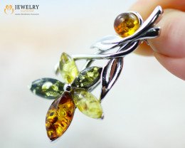 3Cts Baltic Amber Sale, Silver Brooch - AM 2033