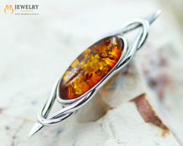 2Cts Baltic Amber Sale, Silver Brooch - AM 2034