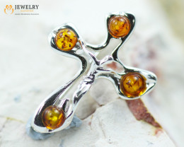 2Cts Baltic Amber Sale, Silver Brooch - AM 2035