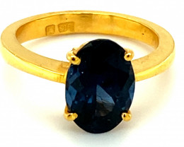 Blue Spinel 2.75ct Solid 22K Yellow Gold Solitaire Ring     Size 6