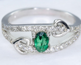 10.59 Crt Natural Emerald 925 Silver  Ring