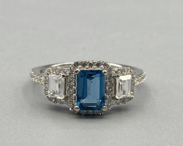 Natural Blue Topaz Silver Ring