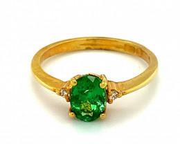 Tsavorite Garnet 1.38ct Diamonds Solid 22K Yellow Gold Multistone Ring