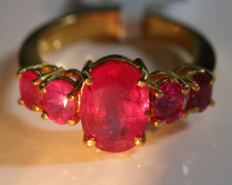 Ruby 5.09ct Solid 22K Yellow Gold Multistone Ring Natural Untreated