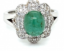 Emerald 1.80ct Platinum Finish Solid 925 Sterling Silver Solitaire Ring