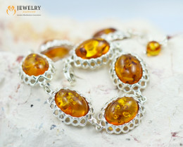 32 Cts Baltic Amber Sale, Silver Bracelet - AM 2040