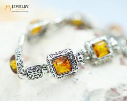 8Cts Baltic Amber Sale, Silver Bracelet - AM 2044