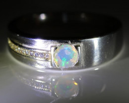 Opal .42ct Platinum Finish Solid 925 Sterling Silver Ring       Size 11