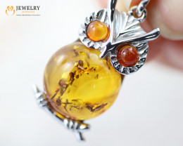 3Cts Baltic Amber Sale, Silver Pendant - AM 2067