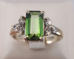 Natural Tourmaline and small CZ Ring