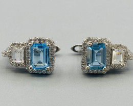 Natural Blue Topaz Silver Earring