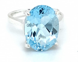 Blue Topaz 7.20ct Platinum Finish Solid 925 Sterling Silver Ring      Size