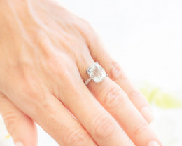 18ct White Gold Rectangular Cushion Cut Aquamarine and Diamond Ring