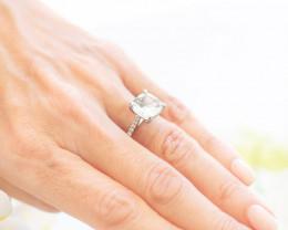 18ct White Gold  Cushion Aquamarine and Diamond Ring