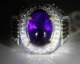 Amethyst 6.60ct Platinum Finish Solid 925 Sterling Silver Ring     14.3g