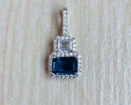 Natural Blue Topaz Silver Pendant