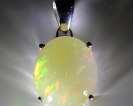 Opal 8.50ct Platinum Finish Solid 925 Sterling Silver Pendant