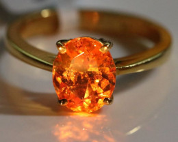 Mandarin Spessartine Garnet 2.60ct Solid 22K Yellow Gold Solitaire Ring