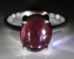 Red Garnet 4.30ct Platinum Finish Solid 925 Sterling Silver Ring