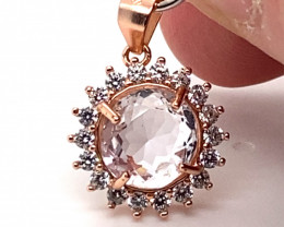 Pink Kunzite 2.90ct Rose Gold Finish Solid 925 Sterling Silver Pendant