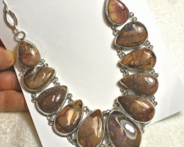 674.0 Natural African Jasper, Sterling Silver Necklace - Gorgeous