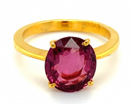 Purple Spinel 4.05ct Solid 22K Yellow Gold Solitaire Ring