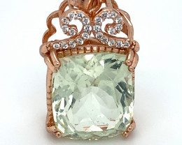 Aquamarine 13.50ct Rose Gold Finish Solid 925 Sterling Silver Pendant