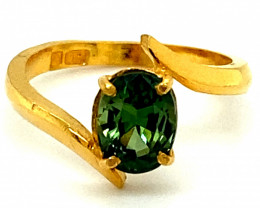Green Sapphire 1.93ct Solid 22K Yellow Gold Solitaire Ring