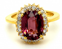 Red Spinel 4.55ct Natural Diamonds Solid 18K Yellow Gold Halo Ring
