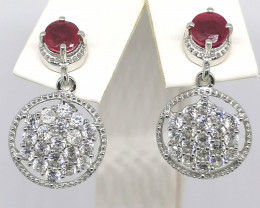 Natural Ruby and Zircon Earrings 3.50 TCW