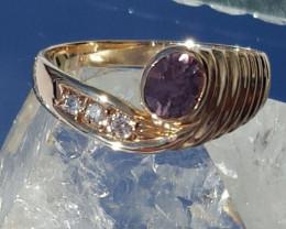 Colour change sapp.& diam ring. Certified