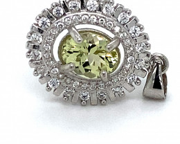 Canary Yellow Tourmaline 1.45ct White Gold Finish Solid 925 Sterling Silver