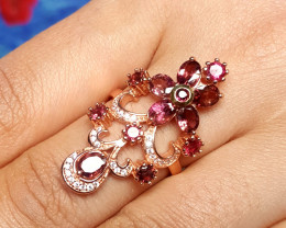 Natural tourmaline with CZ rose gold plated.