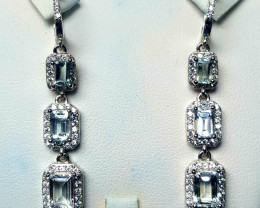 Natural Aquamarine with CZ Earring.