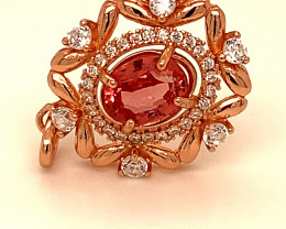 Red Mahenge Spinel 1.15ct Rose Gold Finish Solid 925 Sterling Silver Pendan