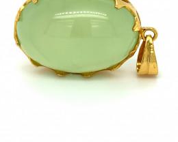 Prehnite 51.89ct Solid 18K Yellow Gold Pendant