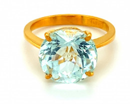 Aquamarine 6.90ct Solid 22K Yellow Gold Solitaire Ring