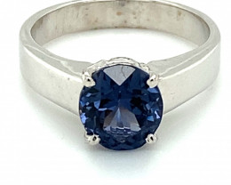 Blue Tunduru Spinel 2.41ct Solid 18K White Gold Solitaire Ring