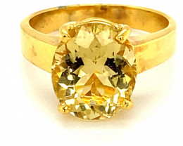 Yellow Scapolite 4.67ct Solid 18K Yellow Gold Solitaire Ring