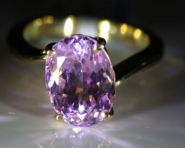 Pink Kunzite 6.85ct Solid 18K Yellow Gold Solitaire Ring