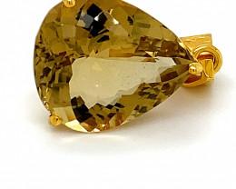 Congo Citrine 12.63ct Solid 18K Yellow Gold Pendant