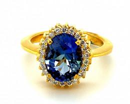 Tanzanite 3.95ct Natural Diamonds Solid 18K Yellow Gold Halo Ring