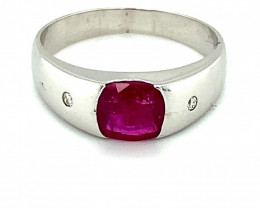 Ruby 1.39ct Diamonds Solid 18K White Gold Ring